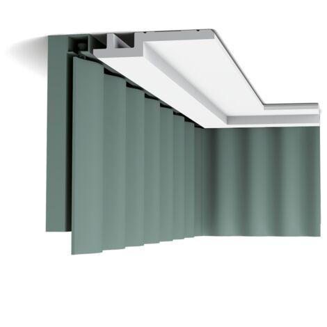 Pack de 4 mètres C395 STEPS Corniche pour éclairage indirect et cache tringle à rideau Orac Decor -15,5x3,1x200cm (h x p x L) - moulure décorative polyuréthane - Conditionnement : Pack 2 pièces