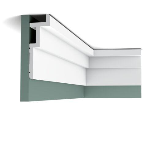 Pack de 4 mètres C396 STEPS Corniche Plafond pour éclairage indirect et cache tringle à rideau Orac Decor - 18,5x6,1x200cm (h x p x L) - moulure décorative polyuréthane - Conditionnement : Pack 2 pièces