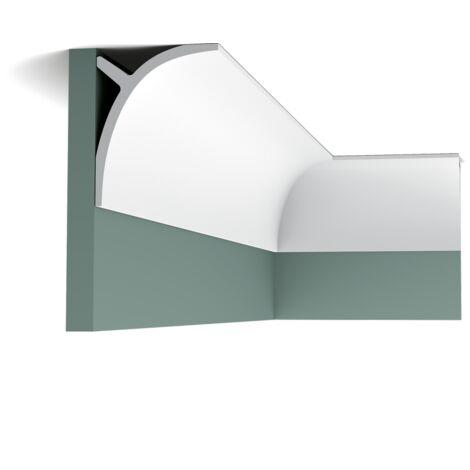 Pack de 4 mètres C991 Corniche pour éclairage indirect et cache tringle à rideau Orac Decor - 11x14x200cm (h x p x L) - moulure décorative polyuréthane - Conditionnement : Pack 2 pièces