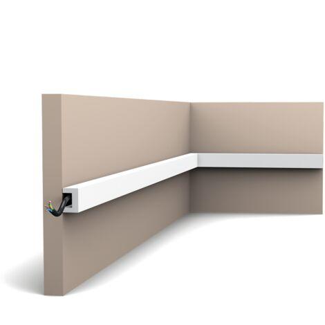 Pack de 4 mètres CX190 Corniche plafond pour éclairage indirect Orac Decor - 2x3x200cm (h x p x l) - moulure décorative polymère - Conditionnement : Pack 2 pièces -