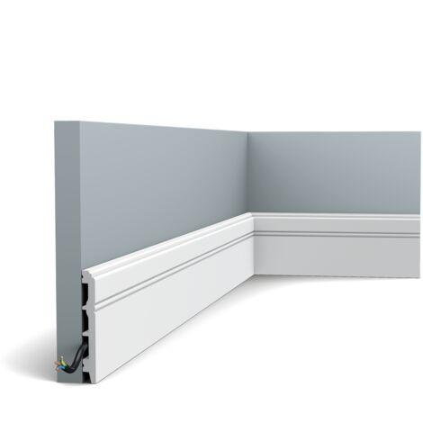 Pack de 4 mètres SX105 Plinthe Orac Decor - 11x1,3x200cm (h x p x L) - plinthe décorative polymère - rigide ou flexible : rigide - conditionnement : Pack 2 pièces