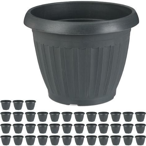 Pack de 40 maceteros, Macetas para flores, Plástico, 13 L, Antracita