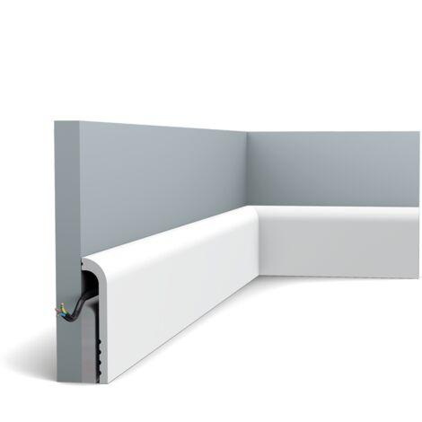 Pack de 4m SX185 Plinthe Orac Decor - 12x2,5x200cm (h x p x L) - surplinthe décorative polymère - Conditionnement : Pack 2 pièces