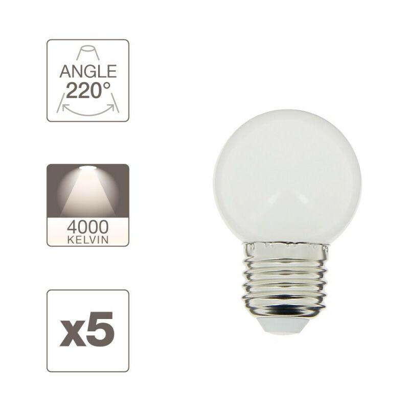 De E27lumière 5 1 Ampoules Guirlande Pack Extérieure Personnalisable NaturellePour Conso 2w 8OPw0knX