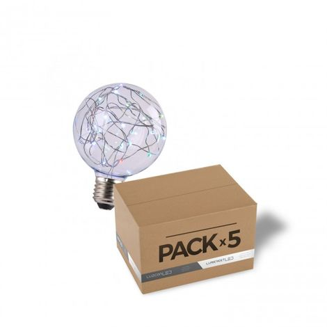 Pack de 5 bombillas decorativa LED 2W G95 RGB