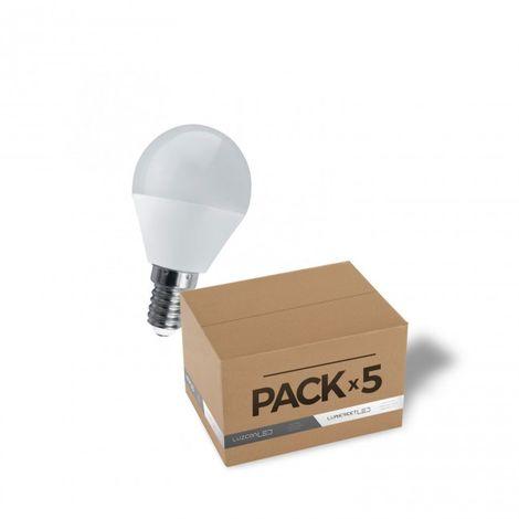 Pack de 5 bombillas Esfera LED E14 6W 4000K