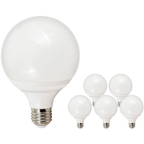 Pack de 5 Bombillas LED E27 Bajo Consumo GIJON G95 12W con 1020 Lm. 6000K Blanco Frío