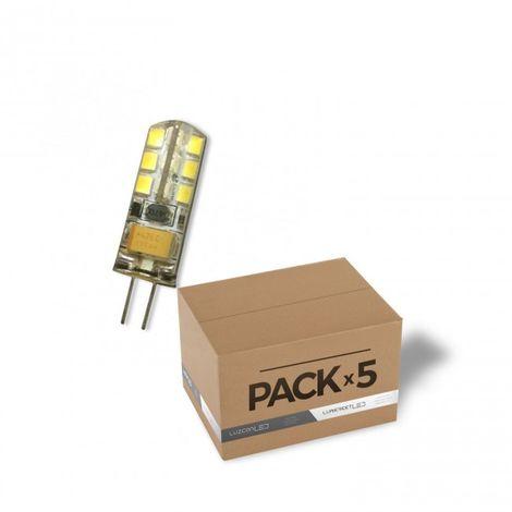 Pack de 5 bombillas LED G4 12V AC/DC 3W de silicona de 3000k