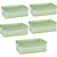 Pack de 5 Cajas de Almacenaje y Transporte Plegables, Plástico, Transparente-Verde, 21.5 x 59 x 39.5 cm