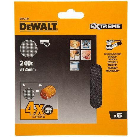 Pack de 5 discos de lija de malla 125mm para usar con lijadoras orbitales y rotorbitales - DEWALT