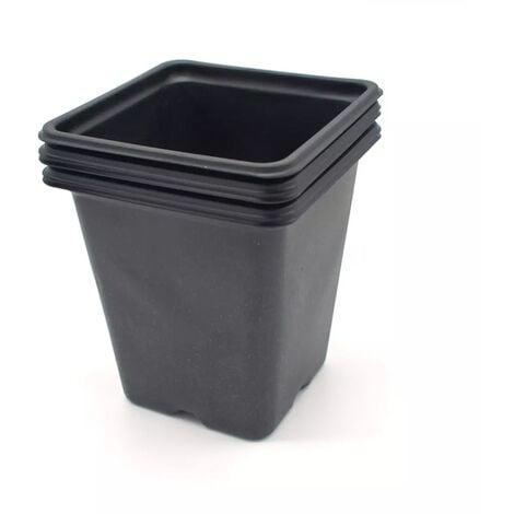 Pack de 5 Godets carrés noir en plastique 11cm