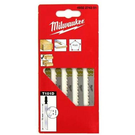 Pack de 5 lames scie sauteuse MILWAUKEE bois/PVC 75 mm denture de 2,5 mm 4932254061