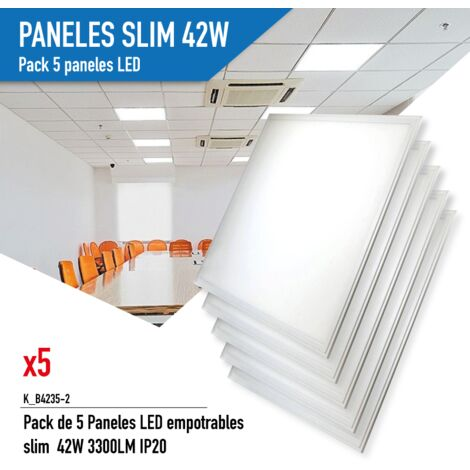 Pack de 5 Paneles LED empotrables slim 60X60cm 42W 3300LM UGR19