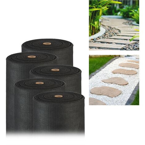 Pack de 5 Rollos Malla Antihierbas 150 g/m² Permeable y Resistente a los Rayos UV, Polipropileno, Negro, 50 m