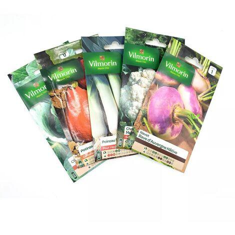 Pack de 5 sachets de graines légumes d'hiver : navet - chou fleur- poireau - potimarron - chou