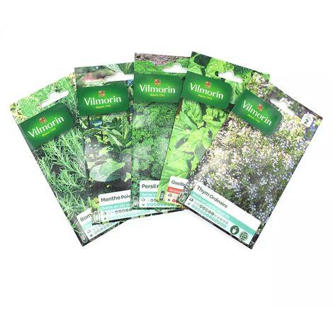 Pack de 5 sachets graines aromatiques - Thym - Oseille - Persil - Menthe - Romarin