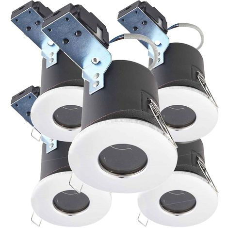 Pack de 5 Spot encastrable spécial faux plafond isolé BASTIA Chrome Rond GU5.3 MR16 IP65 HIPOW