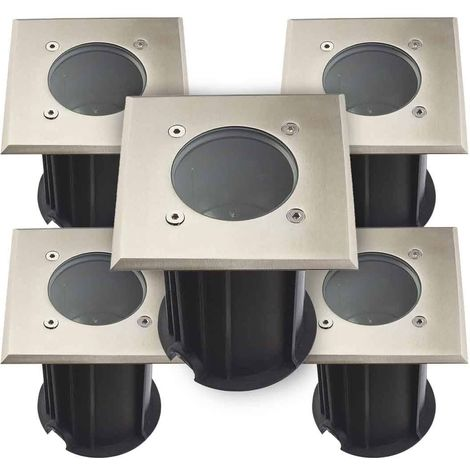Pack de 5 Spots encastrables carrés Inox Plein 316L Verre dépoli ORLANDO GU5.3 IP67 12V extérieur HIPOW