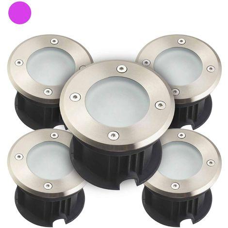 Pack de 5 Spots encastrables ronds en Inox 316L verre clair QUEBEC 2W LED SMD 2835 intégrées IP67 Violet extérieur HIPOW