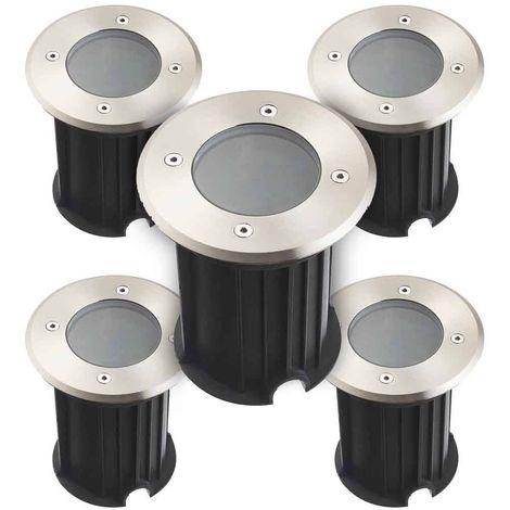 Pack de 5 Spots encastrables ronds TORONTO V2 INOX 316L (montage en série avec 2 presses étoupe) CLEAR GU5.3 12V IP67 HIPOW