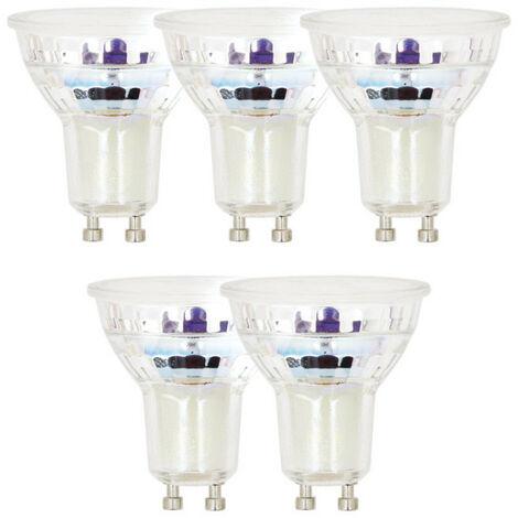 Pack de 5 Spots LED, culot GU10, 4,8W cons. (50W eq.), 345 lumens, lumière blanc chaud | Xanlite
