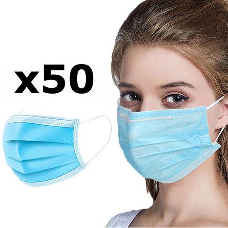Pack de 50 mascarillas desechables de protección respiratoria en color azul