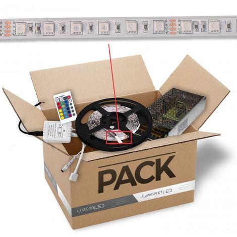 Pack de 5m Tira LED 15W por metro 24V DC IP65 color RGB con transformador y controlador