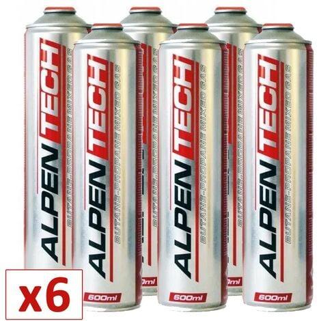Pack de 6 cartouche gaz 330g Butane propane mix 600ml ALPENTECH Bonbonne gaz universelle valve 7/16