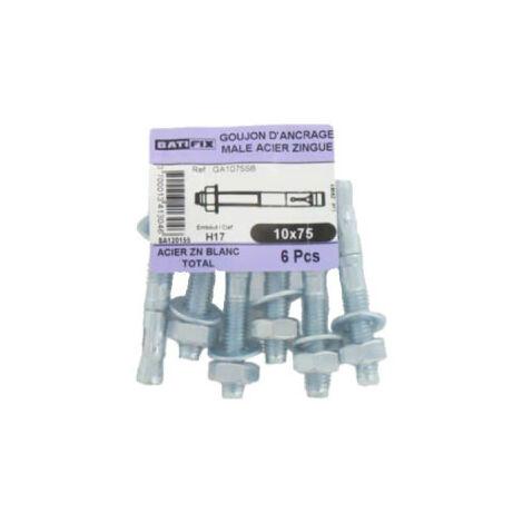 Pack de 6 goujons d'ancrage H17 BATIFIX diamètre 10 x 75mm