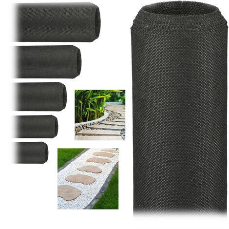 Pack de 6 Rollos de Malla Antihierbas 50 g/m² Permeable y Resistente a los Rayos UV, Polipropileno, Negro, 5 m