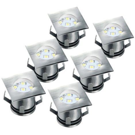 PACK DE 6 SPOT DE SOL LED, INOX, VERRE BROSSÉ RANEX 5000.476