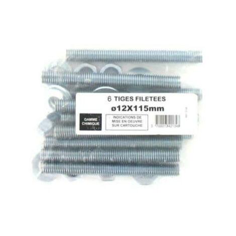 Pack de 6 Tiges Filetées M12 BATIFIX diamètre 12 x 115mm