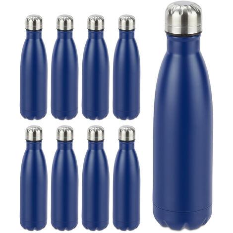 Pack de 9 Botellas Agua sin BPA Isotérmica para Bebidas Frías y Calientes, Acero Inoxidable, Azul, 500 ml
