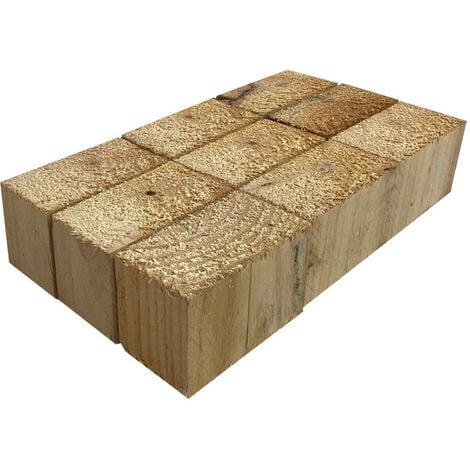 "main image of ""Pack de 9 tacos de madera de palets 14 x 7,5 x 9 cm"""