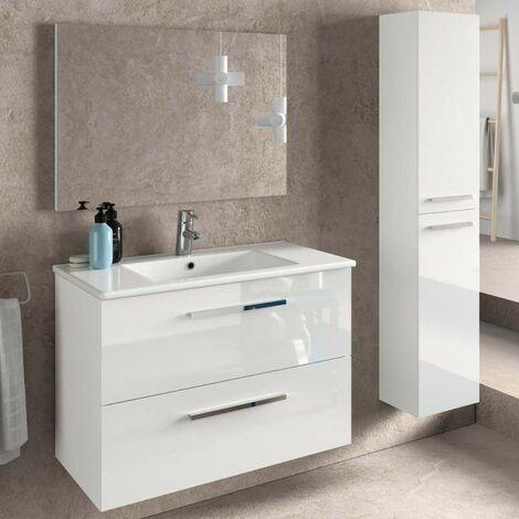 Pack de baño Aruba blanco mueble con espejo, lavamanos cerámico y columna