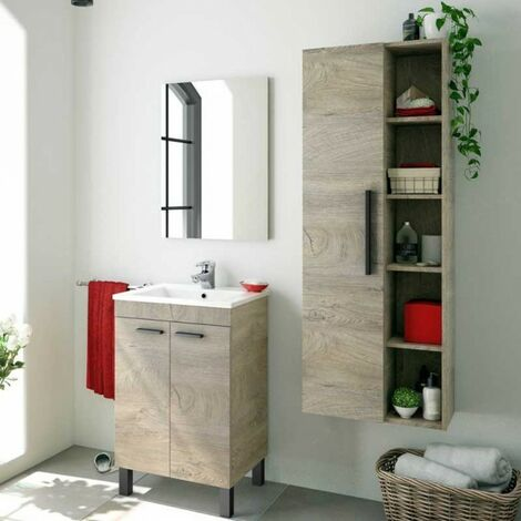 Pack de baño Aseo Color Roble Alaska con Mueble, Espejo, Lavabo y Columna Industrial Lavabo Incluido