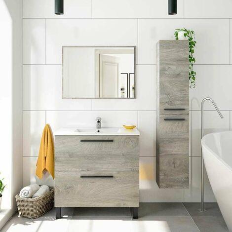 Pack de baño Athena Color Roble Alaska Estilo Industrial Moderno (Mueble, Espejo, Lavabo y Columna)