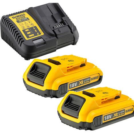 Pack de batteries DEWALT 18V 2.0Ah Li-Ion - 2 batteries + Chargeur - DCB115D2