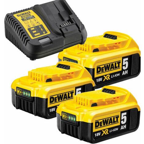 DeWalt DB115P3 Set de démarrage 18V Li-Ion (3x batterie 5.0Ah) + chargeur
