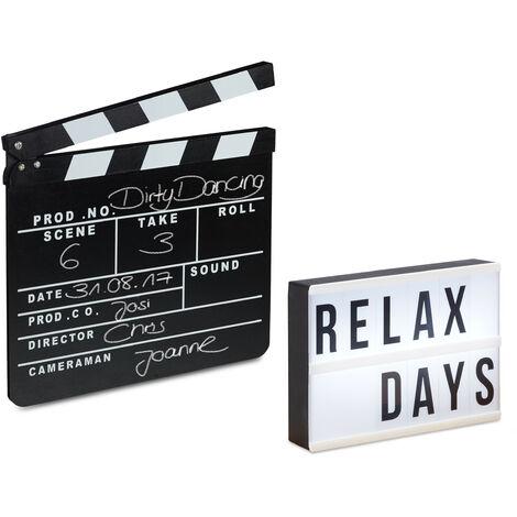 Pack de Caja de Luz Led con 60 Letras y Claqueta de Cine de Madera, Blanco y Negro