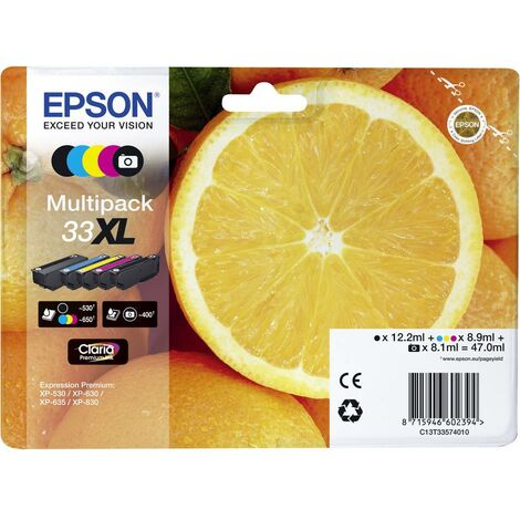 Pack de cartouches Epson T3357, 33XL noir, noir photo, cyan, magenta, jaune C13T33574011