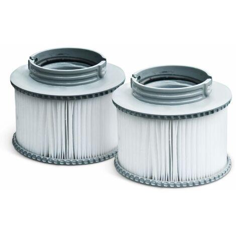 Pack de deux filtres à baïonnette V1 pour spa MSPA - Camaro, Super Camaro, Alpine 4 et 6, Silver Cloud 4 et 6, Bliss 6 et Mono 6 - 2 Cartouches filtrantes de remplacement pour jacuzzi gonflable mspa