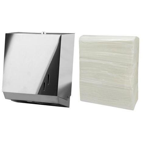 Pack de dispensador acero inoxidable de toallitas y 3 paquetes de papel toalla zigzag