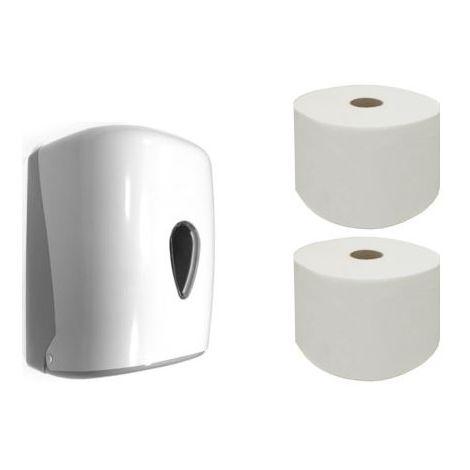 Pack de dispensador de bobina y 2 bobinas de papel tipo mecha