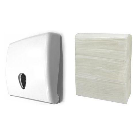 Pack de dispensador de toallitas modelo gota y 3 paquetes de papel toalla zigzag