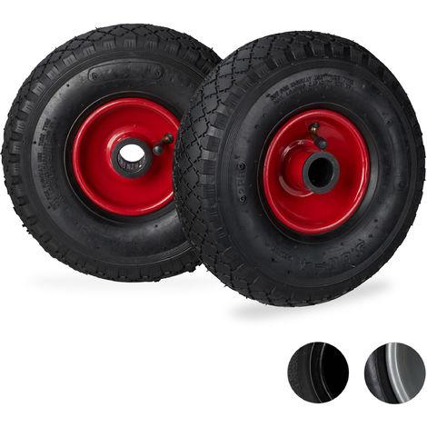 Pack de dos ruedas de carretilla, 3.00-4, Llanta de acero, Eje de 25mm, Negro-rojo