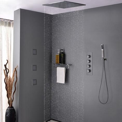 Pack de douche encastré au plafond - Nickel brossé