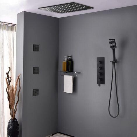 Pack de douche encastré au plafond - Noir