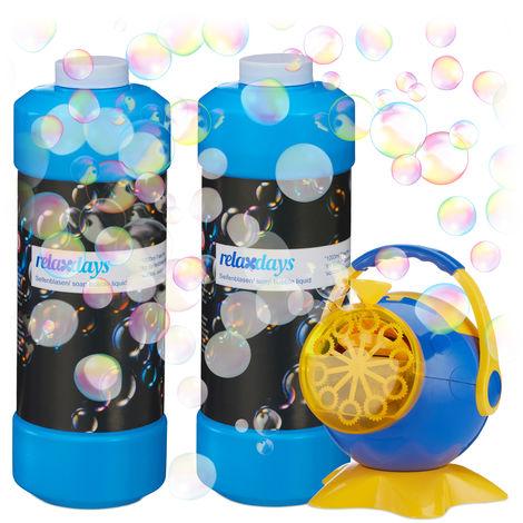 Pack de Máquina de Burbujas con Jabón Pompas Recambio, 2 Litros, XXL, Azul