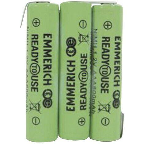 Pack de piles rechargeables 3x LR3 (AAA) NiMH Emmerich 255062 3.6 V 800 mAh A33785